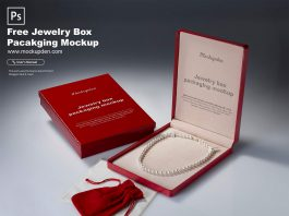 Free Jewelry Box Packaging Mockup PSD Template