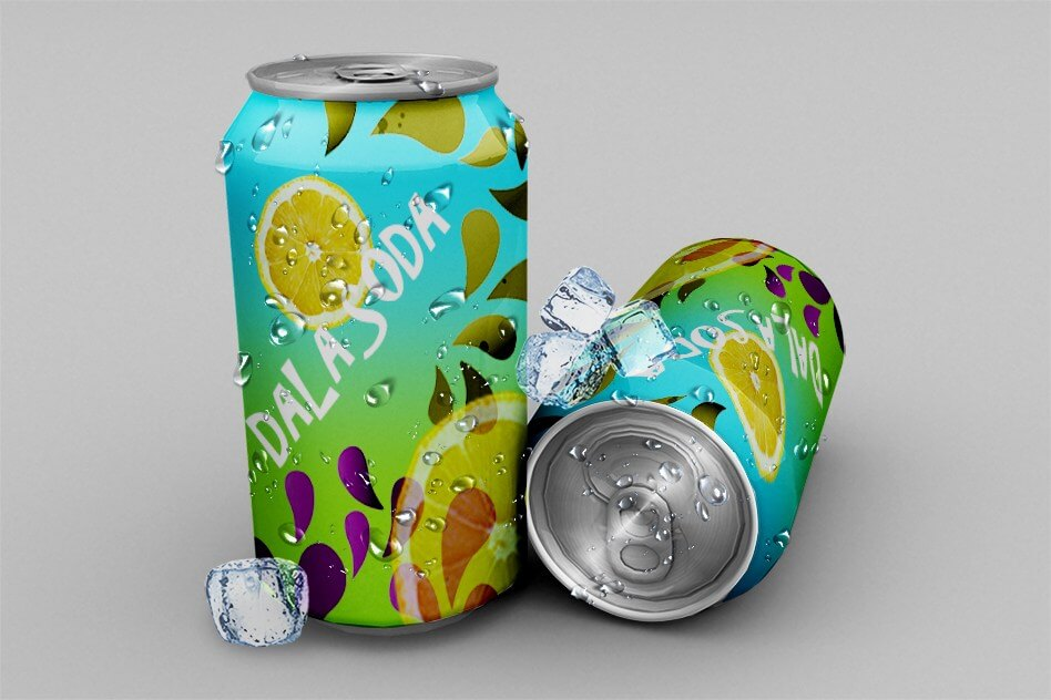 Lemon Printed Can PSD with customizable background