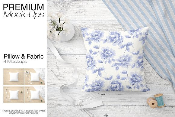Light Floral Print PSD Cushion Design Mockup