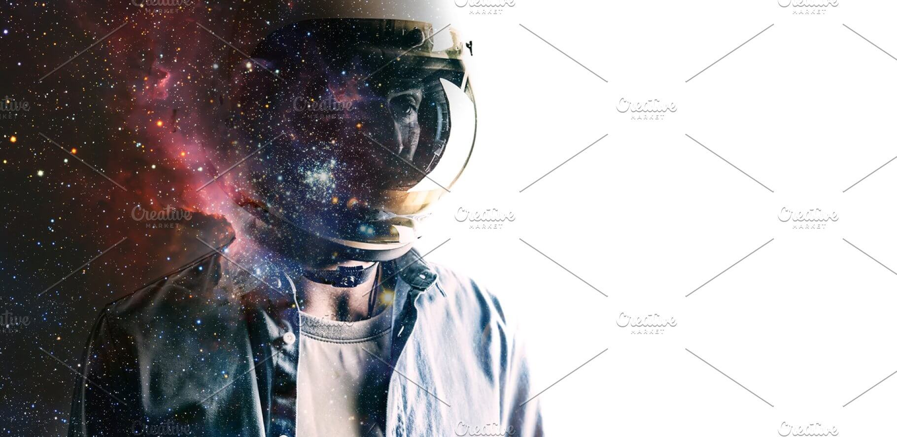 Man In Helmet with Starry Sky Background PSD Mockup