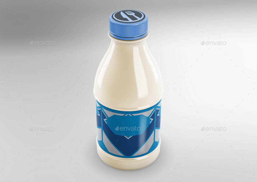 Milk Bottle With Blue Label And Cap Mockup