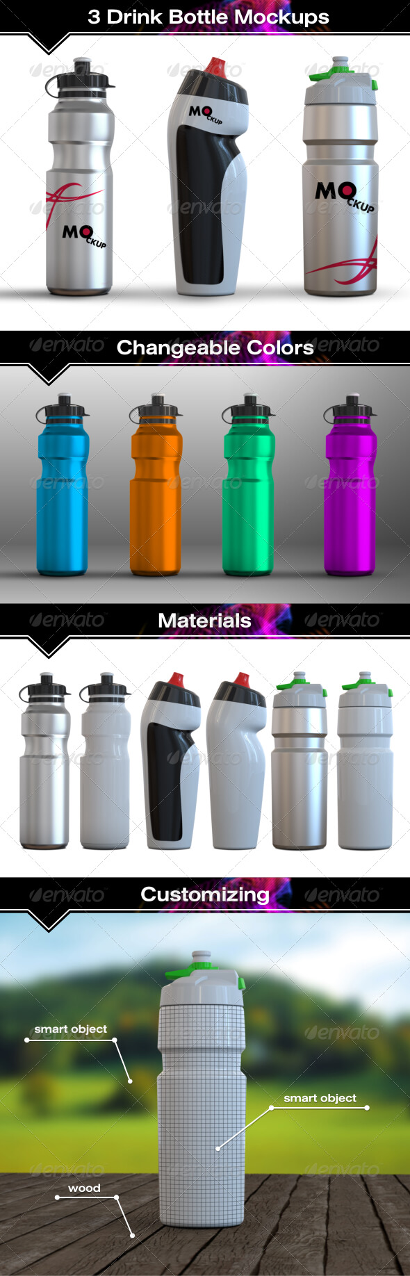 Multi purpose Water Bottle Mockup