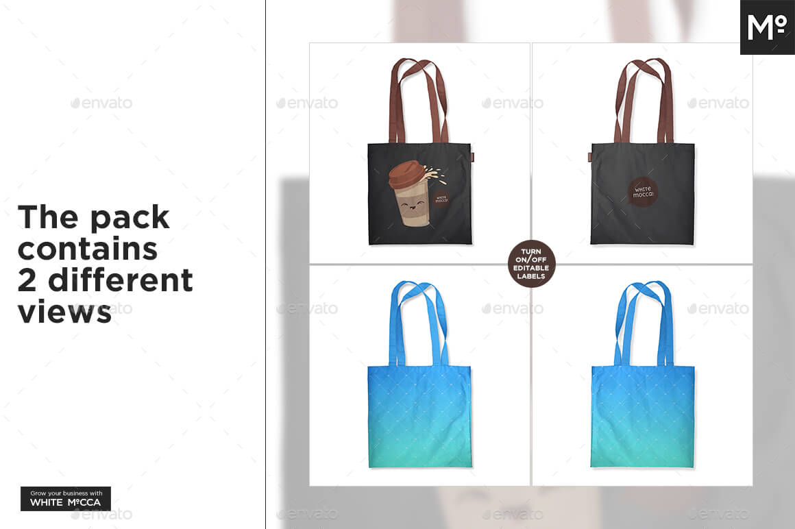 Multicolored Tote Bag Mockup
