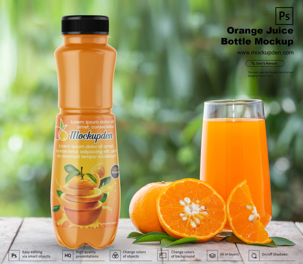 Free Orange Juice Bottle Mockup PSD Template