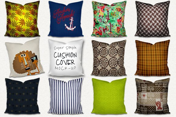 Pack of 12 Cushions PSD Mockup files