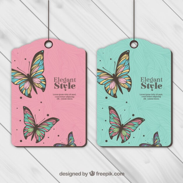 Pink And Green Color Elegant Style Hang Tag Vector File