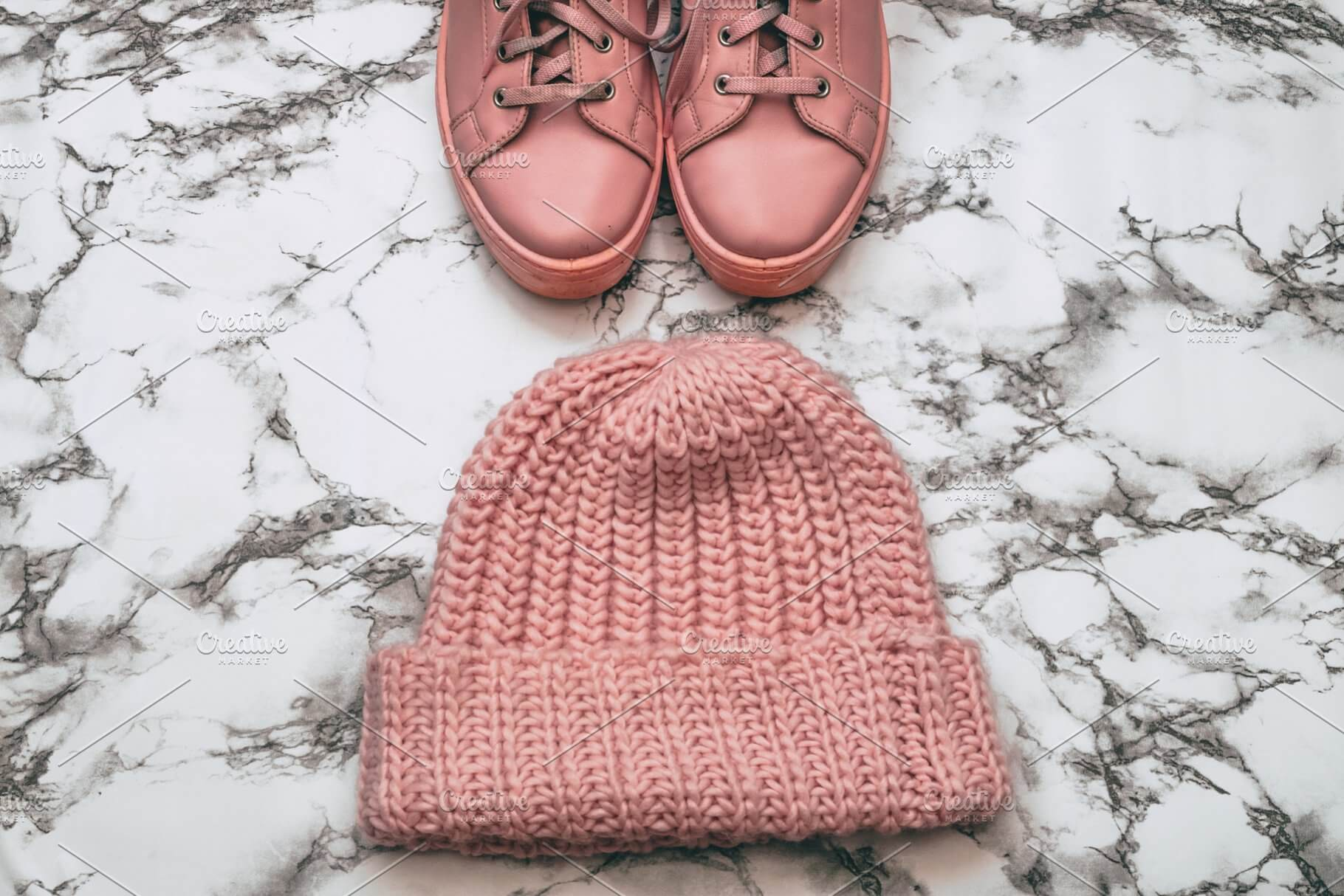 Pink Colored Shoes AndBeanie Designs