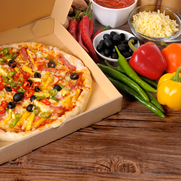 Pizza in a Box and it's ingredients Mockup
