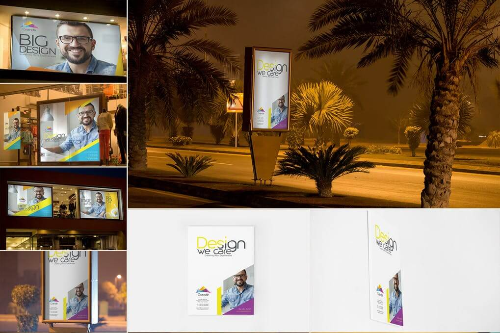 Posters And Billboard On Road mockup