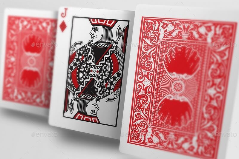 RED POKER PLAYING CARDS MOCKUP