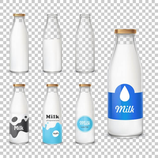 Realistic Milk Bottle And Glass Vector
