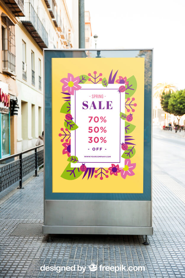 Sale offer displayed On Poster Mockup