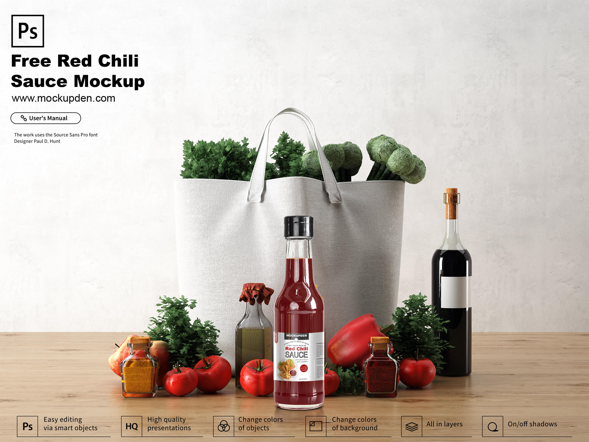 Free Red Chili Sauce Bottle Mockup PSD Template