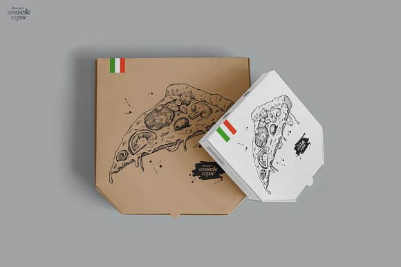 Set of Two sized Pizza Box PSD Template