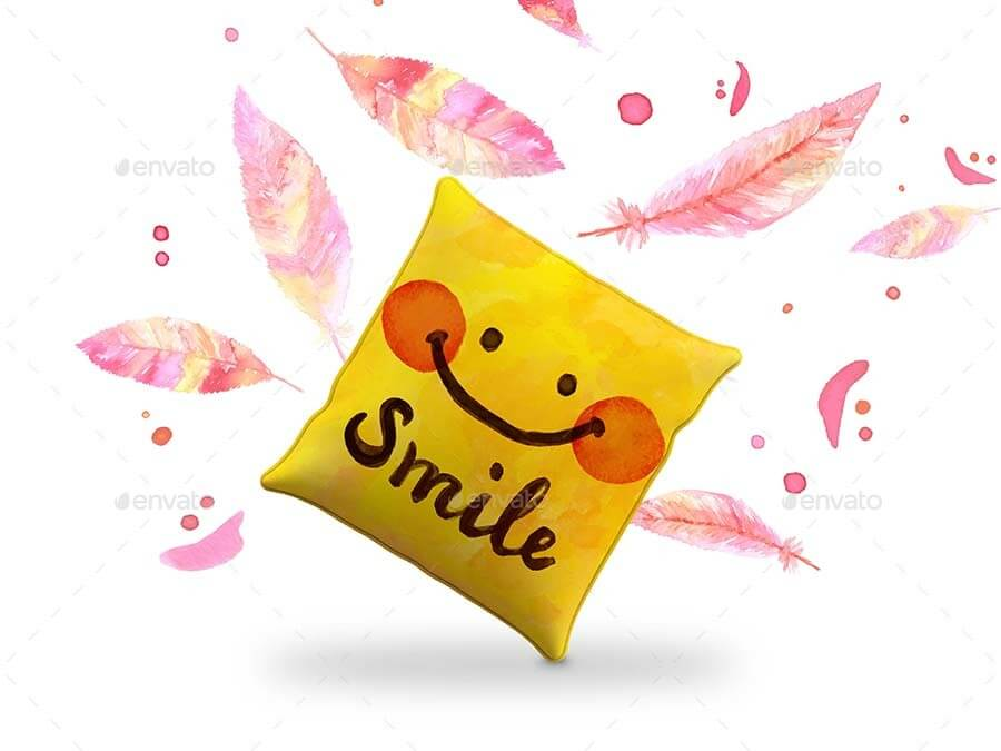Smiling Cushion Design Template in PSD Format