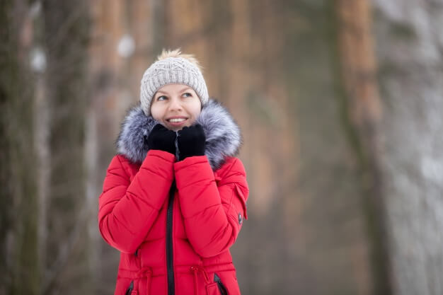 Smiling Women In The Forest WearingBeanies PSD Mockup