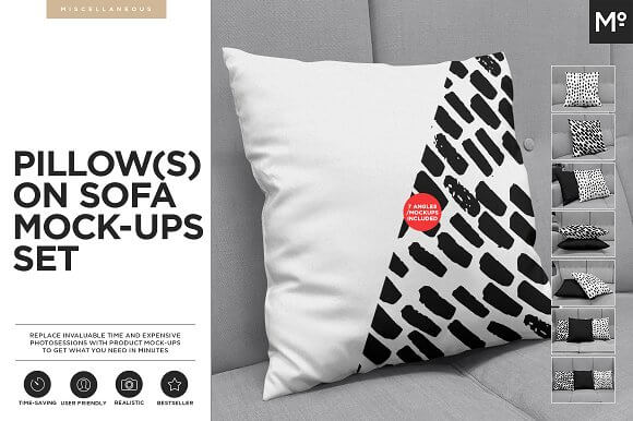 Soft Cushion Design with Prints PSD Mockup