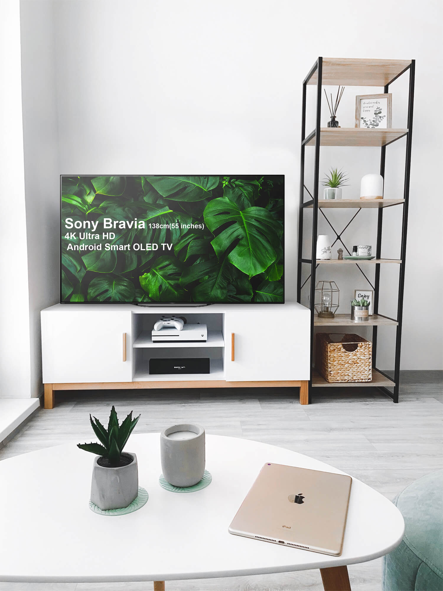 Free Sony Bravia 4K Ultra HD Smart OLED TV Mockup PSD Template