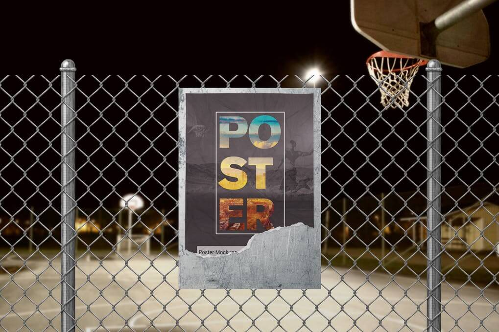 Street Poster Near A Basketball Stadium Mockup