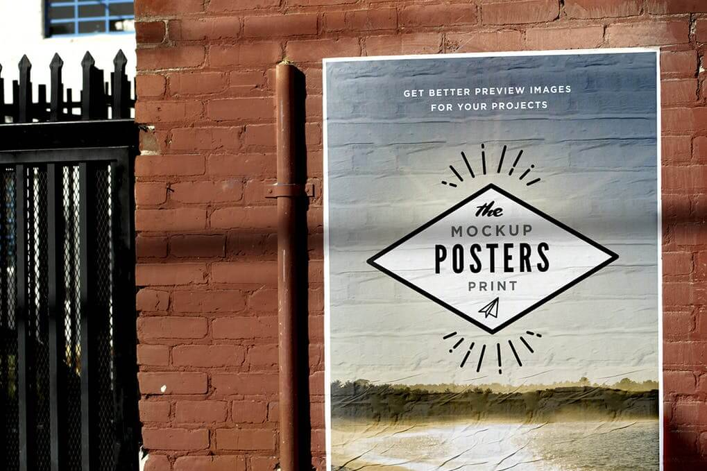 Street Poster Placed On A Brown Wall Mockup