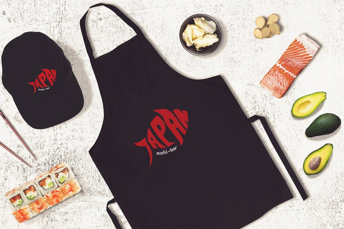 Sushi Bar Cap And Apron PSD Mockup