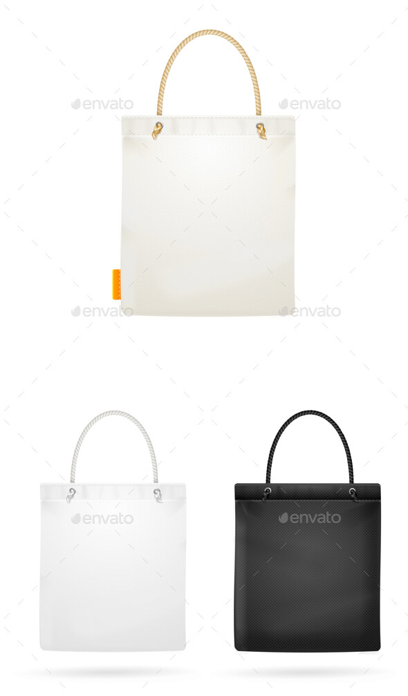 Three Editable Tote Bag Mockup