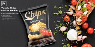 Free Tomato Chips Packet Mockup PSD Template