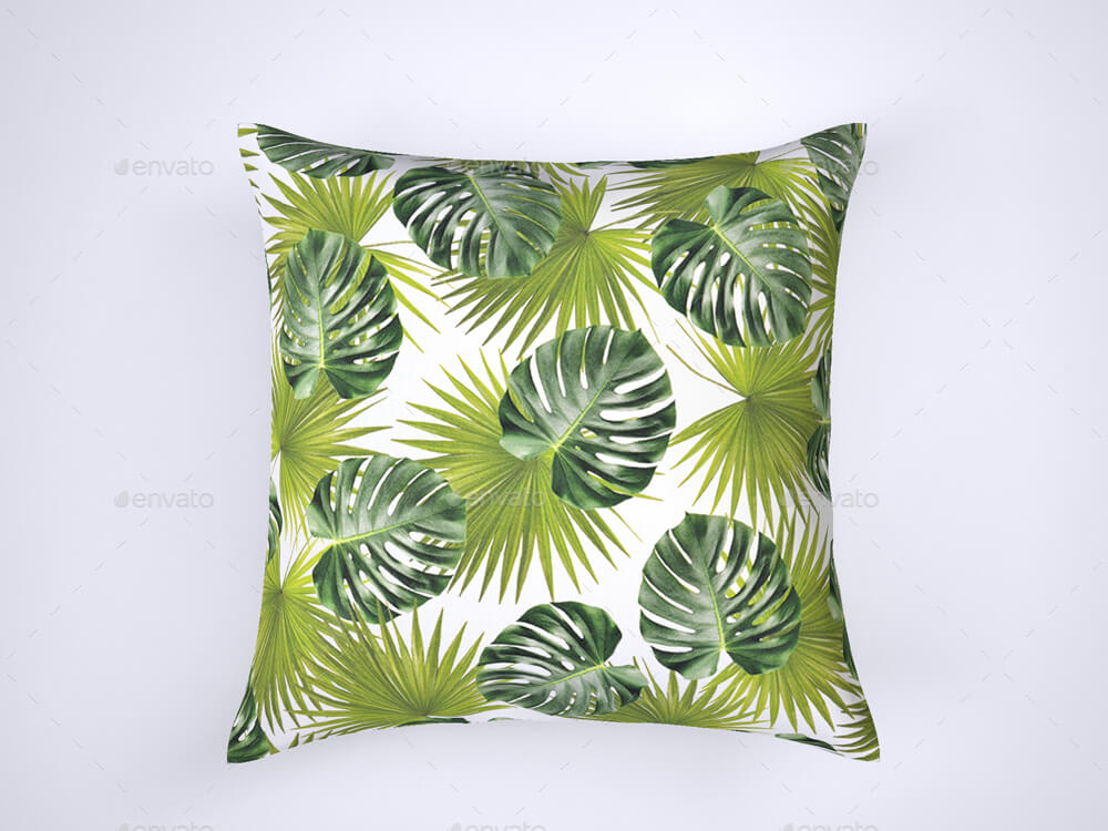 Tropical Leaf Cushion Design Mockup