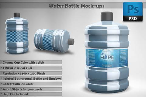 Water Jar Bottle PSD Mockup