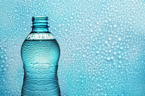 Water droplets on Water Bottle Mockup