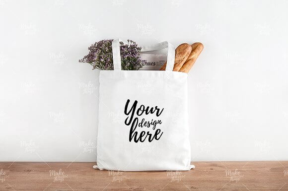 White Colored Tote Bag PSD