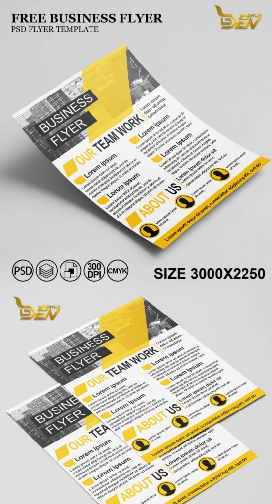 Free Yellow Color Business Flyer Mockup