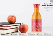 Free Apple Juice Bottle Mockup PSD Template