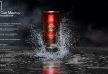 Free Beer Can Mockup PSD Template