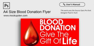 Free A4 Size Blood Donation Flyer Mockup PSD Template