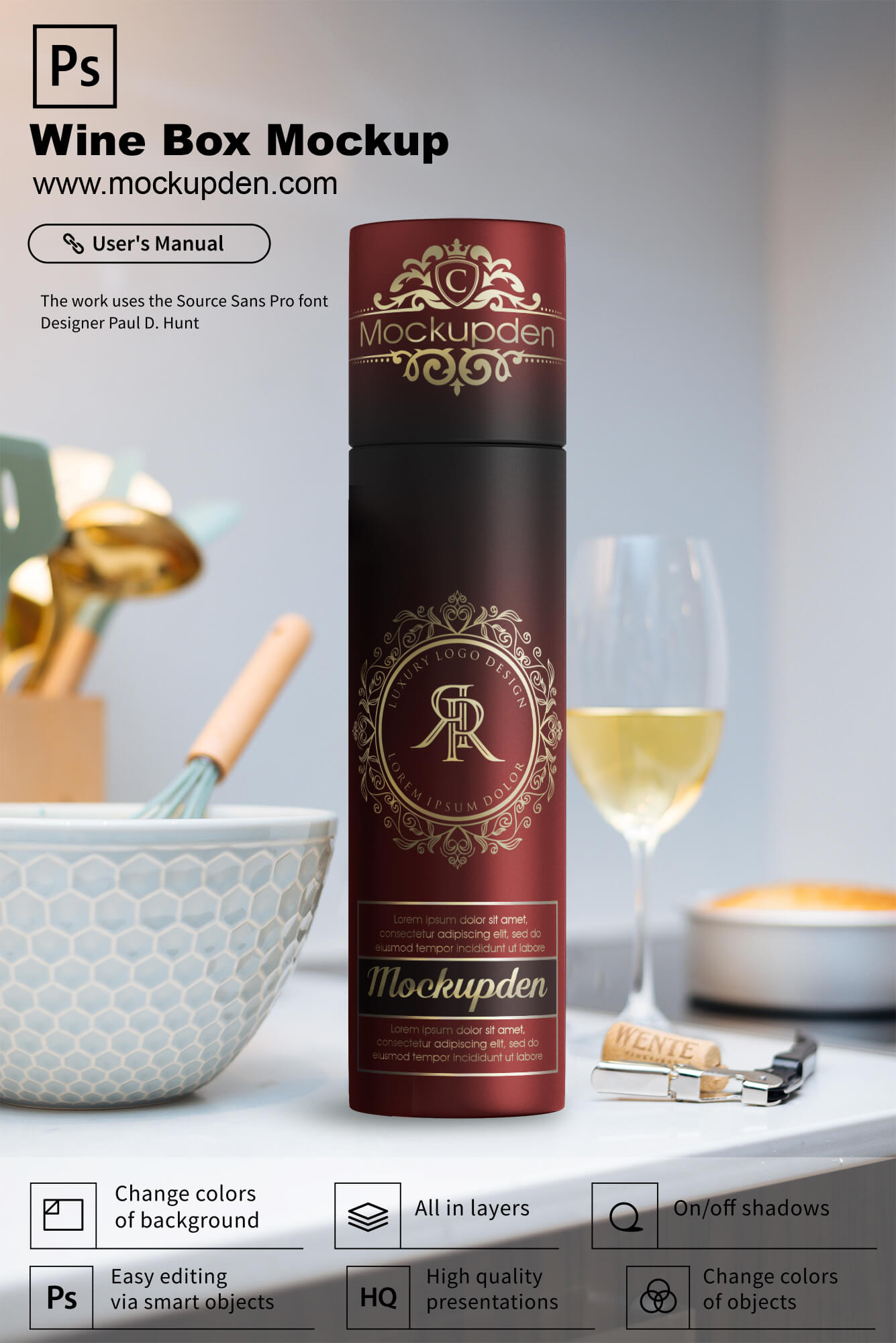 Free Wine Box Mockup PSD Template