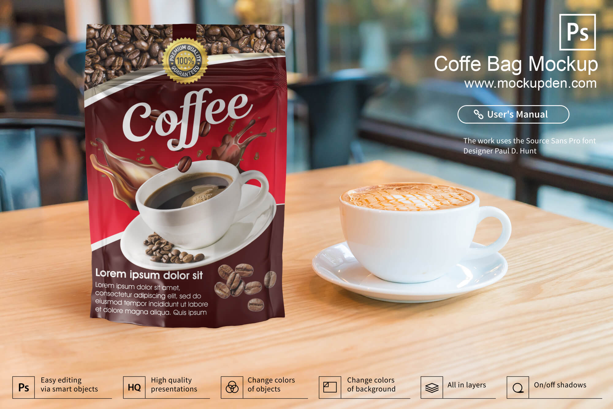Free Red Color Coffee Bag Mockup PSD Template