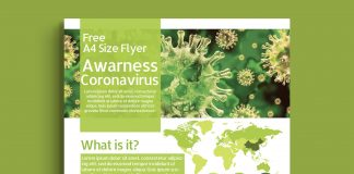 Free Corona virus Awareness Flyer Mockup PSD Template