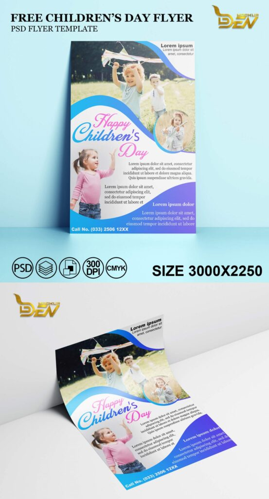 Free Children's Day Flyer Mockup PSD Template