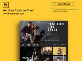 Free A4 Size Fashion Flyer Mockup PSD Template