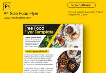 Free A4 Size Food Flyer Mockup PSD Template