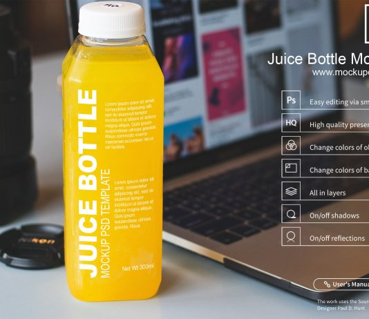 Free Juice Bottle Mockup PSD Template
