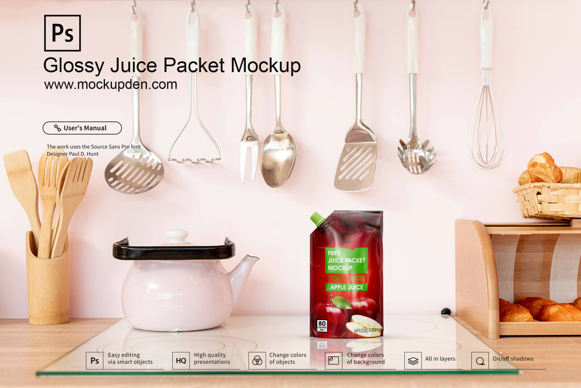 Free Glossy Juice Packet Mockup PSD Template