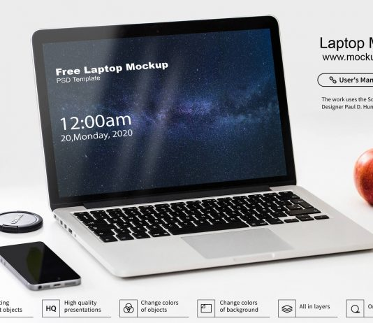 Free Laptop Mockup PSD Template