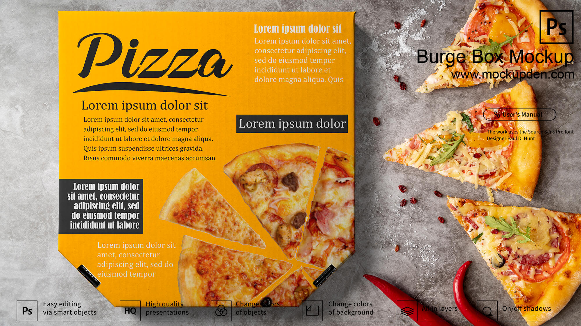 Free Pizza Box Mockup PSD Template
