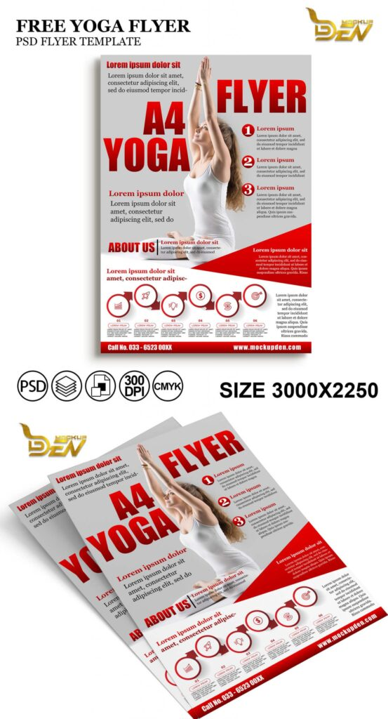 Free A4 Yoga Flyer Mockup PSD Template