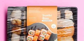 Free Sushi Box Packaging Mockup PSD Template