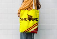 Free Yellow Color Tote Bag Mockup PSD Template