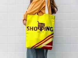 Free Yellow Color Tote Bag Mockup PSD Template