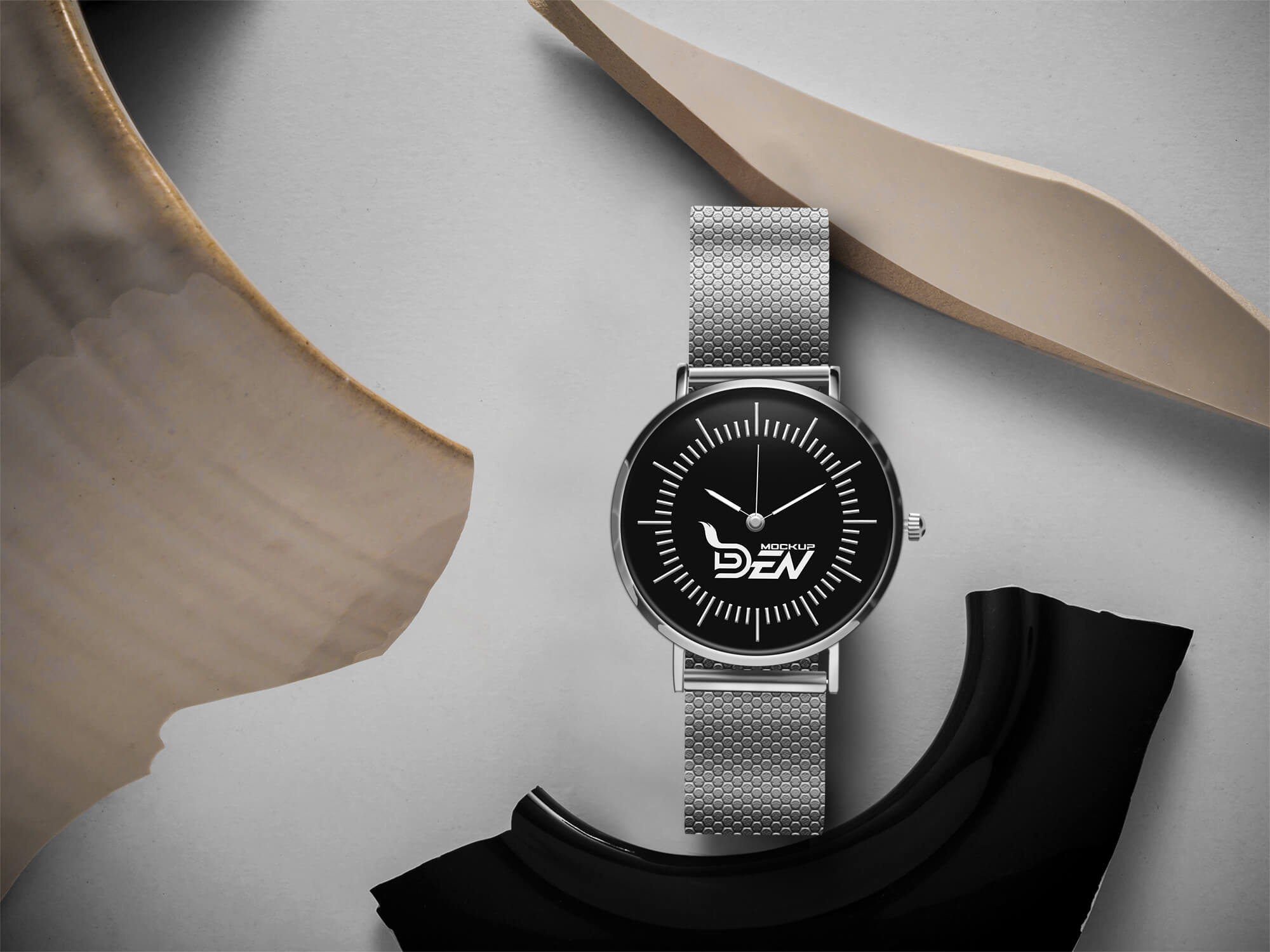 Free Golden Hand Watch Mockup PSD Template